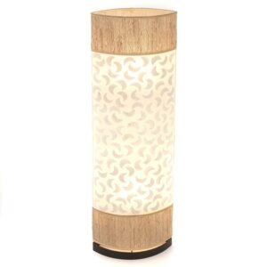 Oval Eye Sandal Wood and Sabit Shell Floor Lamp