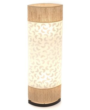 Oval Eye Sandel Wood and Sabit Shell Floor Lamp - 100cm