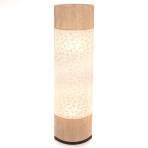 Oval Eye Sandel Wood and Sabit Shell Floor Lamp
