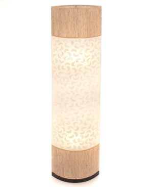 Oval Eye Sandel Wood and Sabit Shell Floor Lamp - 150cm