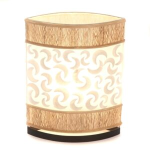 Oval Eye Sandel Wood and Sabit Shell Table Lamp - 35cm