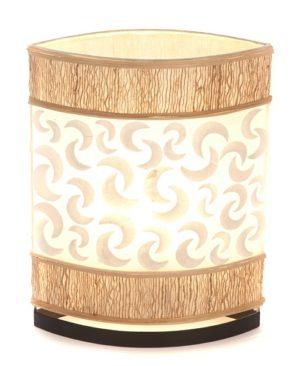 Oval Eye Sandel Wood and Sabit Shell Table Lamp - 35cm