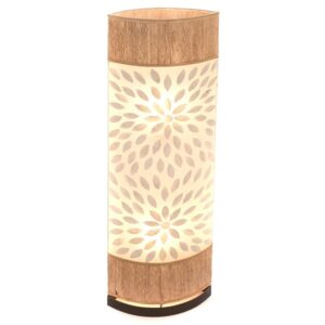 Oval Eye Sandel Wood and Flower Shell Floor Lamp - 100cm