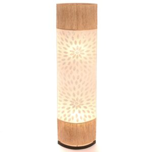 Oval Eye Sandel Wood and Flower Shell Floor Lamp - 150cm