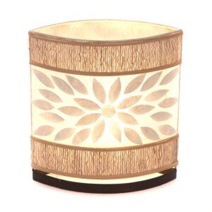 Oval Eye Sandel Wood and Flower Shell Table Lamp - 35cm
