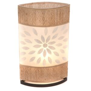 Oval Eye Sandel Wood and Flower Shell Table Lamp - 50cm