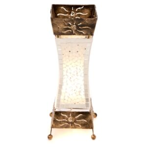 White Mosaic Glass Silhouette Table Lamp - 50cm