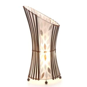 Oval Sexy Bamboo and Flower Shell Table Lamp - 50cm