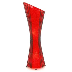 Oval Bamboo & Red Curly Paper Floor Lamp – 100cm