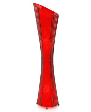 Oval Bamboo & Red Curly Paper Floor Lamp – 150cm