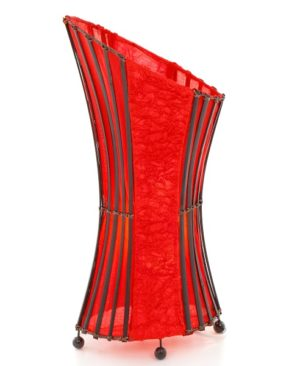 Oval Bamboo & Red Curly Paper Floor Lamp – 50cm