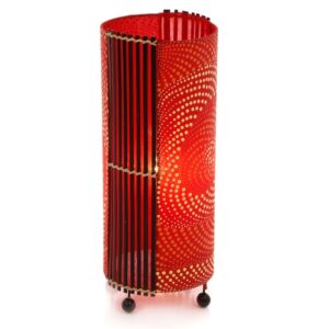 Dot Painted Red Cylinder Table Lamp - 50cm