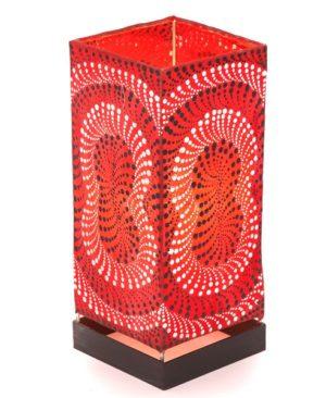 Red Square Dot Motif Table Lamp - 30cm