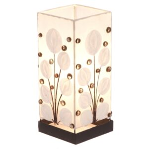 Square White Poppy Shell Table Lamp - 30cm