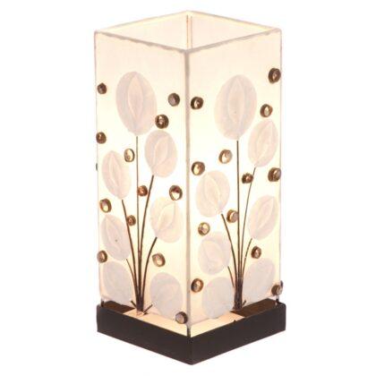 Square White Poppy Shell Table Lamp - 30cm