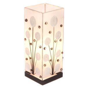 Square White Poppy Shell Table Lamp - 40cm