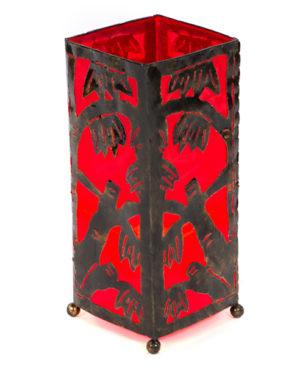 Metal Bamboo Motif 40cm Table Lamp - Red