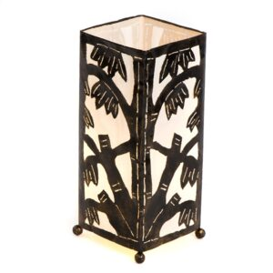 Metal Bamboo Motif 40cm Table Lamp - White
