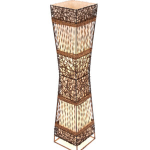Square Rattan & Wicker Flare Floor Lamp - 100cm