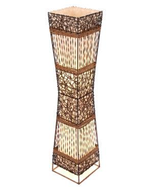 Square Rattan & Wicker Flare Floor Lamp - 100cm