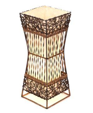 Square Rattan & Wicker Flare Table Lamp - 50cm