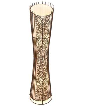 Round Rattan and Wicker Floor Lamp Top Cut - 150cm