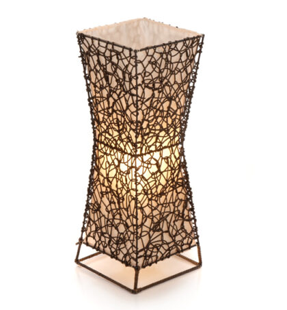Square Woven Wicker Flare Table Lamp - 50cm