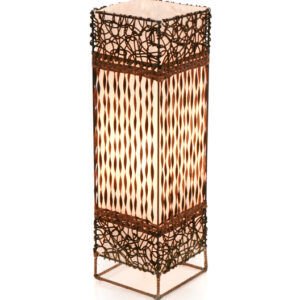Square Woven and Twisted Wicker Table Lamp - 50cm