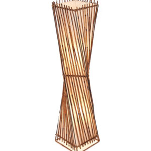 Square Twisted Rattan Flare Floor Lamp - 100cm
