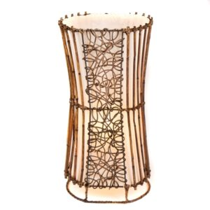 Oval Rattan & Wicker Floor Lamp - 50cm