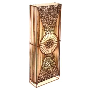 Flat Rattan and Wicker Full Circle Floor Lamp - 100cm
