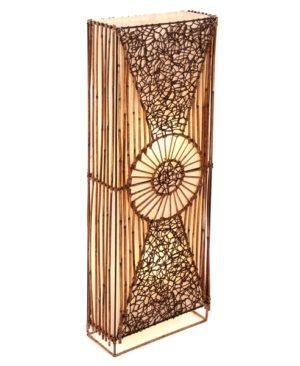 Flat Rattan & Wicker Full Circle Floor Lamp - 100cm