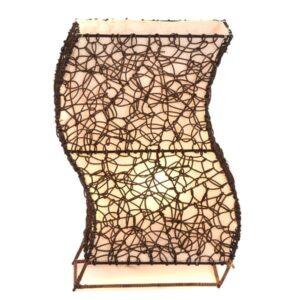 Flat Woven Wicker Wiggle Table Lamp - 50cm
