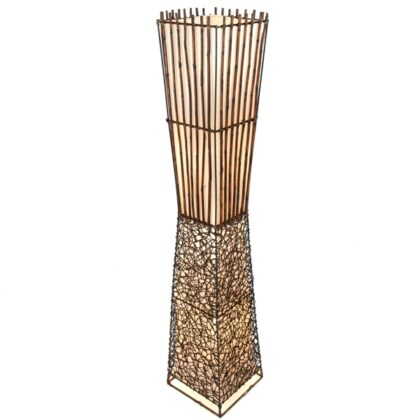 Square Rattan and Bamboo Floor Lamp