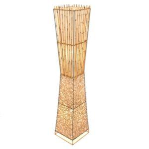 Square Half Rattan Half Bamboo Floor Lamp - 150cm