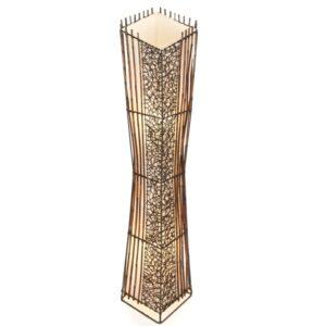 Square V Cut Top Rattan & Bamboo Floor Lamp - 100cm