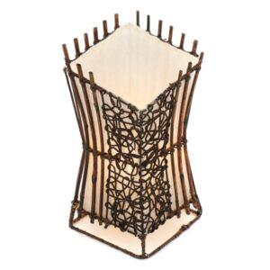 Square V Cut Top Rattan & Bamboo Table Lamp - 30cm