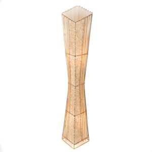 Square V Cut Top Rattan and Bamboo Floor Lamp