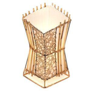 Square V Cut Top Rattan & Bamboo Table Lamp - 30cm - Light