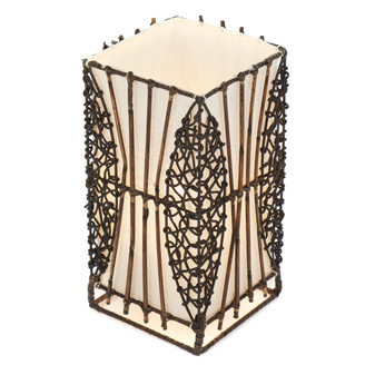 Small Square Wicker and Rattan Table Lamp - 30cm