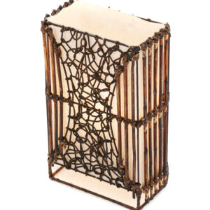 Small Rectangle Wicker and Rattan Table Lamp