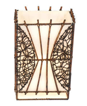 Small Rectangle Wicker and Rattan Table Lamp - 30cm