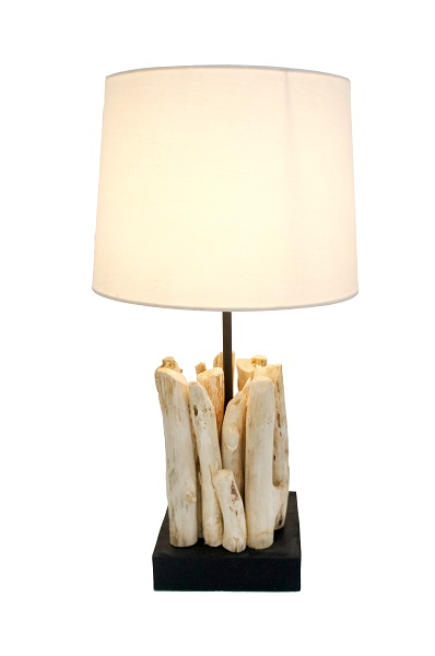 Old Wood Table Lamp with Shade - 33cm
