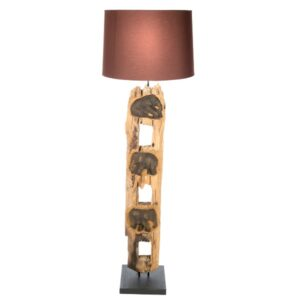 Brown Elephant Fence Post Floor Lamp With Shade - 125cm