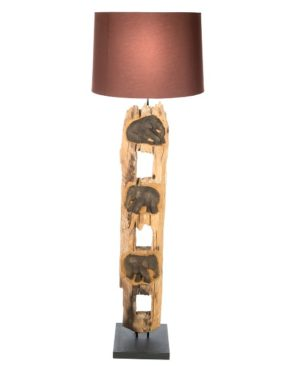 Elephant Fence Post Floor Lamp With Shade - 125cm - Brown