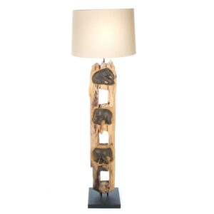 Elephant Fence Post Floor Lamp With Shade - 125cm