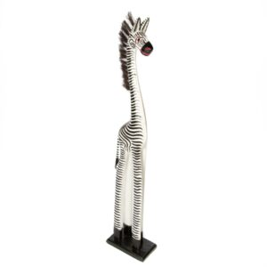 Fair Trade Wooden Standing Zebra - 80cm