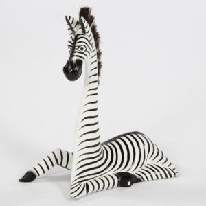 Fair Trade Wooden Lying Zebra - Large