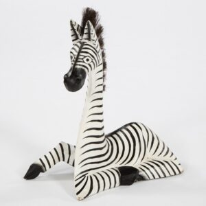 Fair Trade Wooden Lying Zebra - Medium