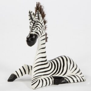 Fair Trade Wooden Lying Zebra - Small